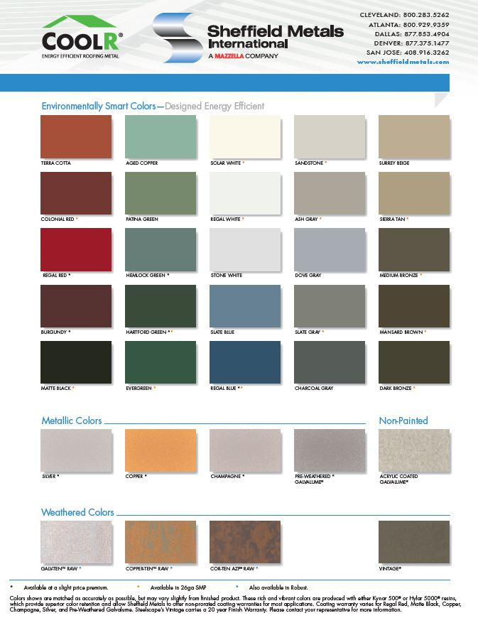 Sheffield Metals Energy Efficient Colors