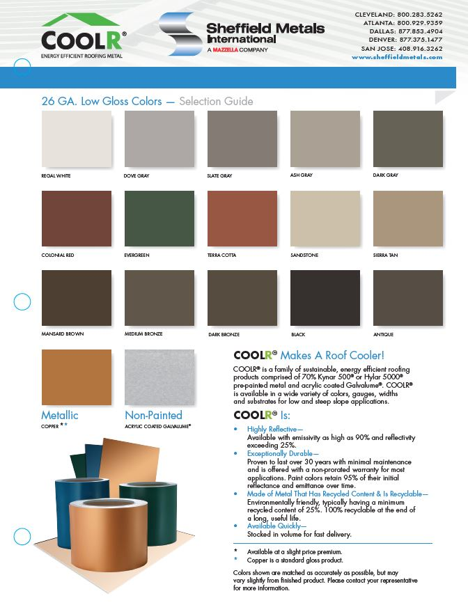 Sheffield Metals Energy Efficient Low Gloss Colors