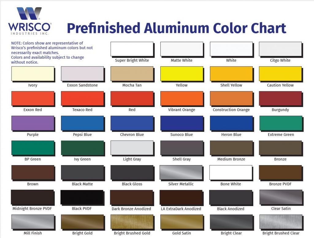 Wrisco prefinished-aluminum-color-chart